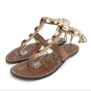 Sam Edelman Gerome Beaded Shell Tie Sandals Shoes